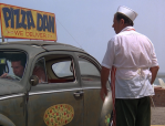 Jim commandeers Pizza Dan's delivery vehicle.